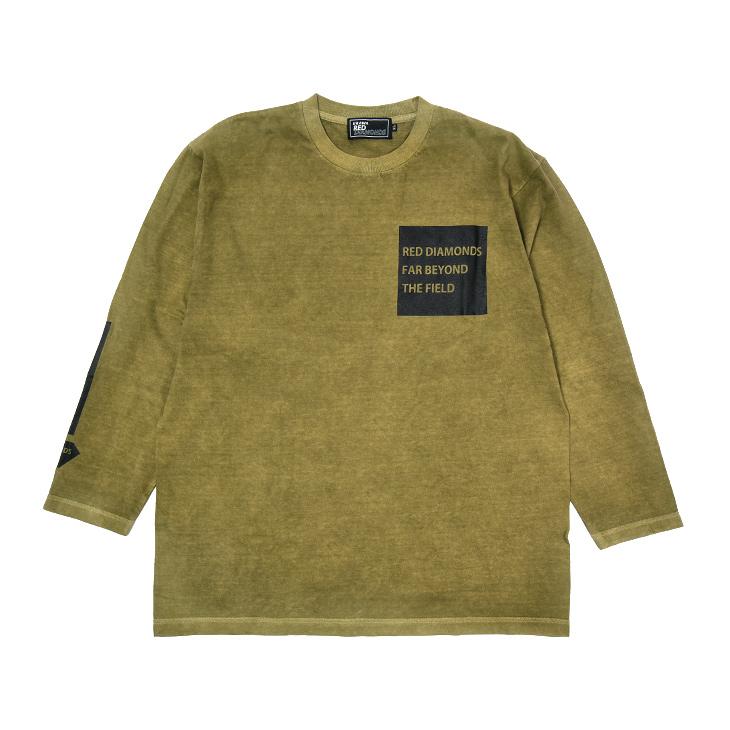 19ロングTシャツ(スリーラインロゴ)カーキ